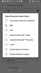 Android Oreo (up), getting max of the music  Sought aptX, DACs