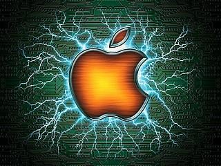 Apple with electric arcs behind the logo