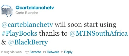 BlackBerry PlayBook from RIM and MTN for Carte Blanche