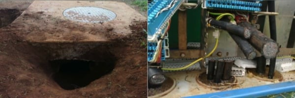 Copper cable theft and sabotage - Telkom - Manhole and box