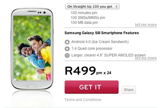 Samsung Galaxy S3 on Cell C Straight Up 100
