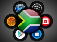 iTunes, Google Play, BlackBerry App World, Windows Phone Marketplace, and Nokia Store in South Africa