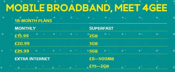 Mobile broadband 4GEE - 18 month contract