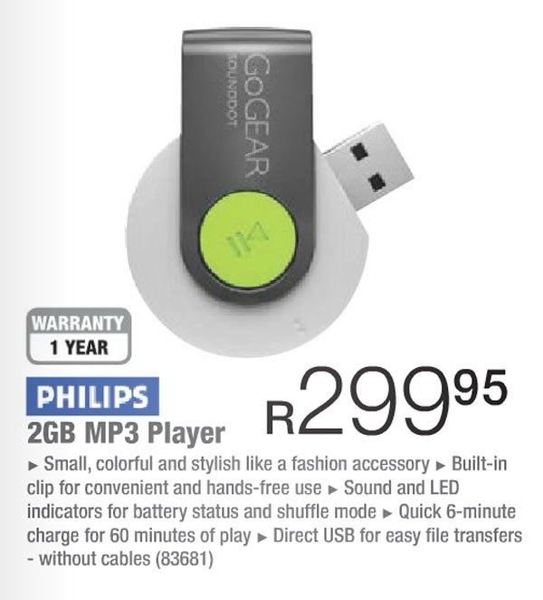 Philips 2GB MP3 player (Incredible Connection)