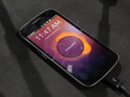 Ubuntu for phones welcome screen on a Galaxy Nexus at CES 2013 thumbnail