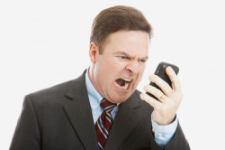 Angry man with cellphone