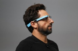 Google CEO Sergey Brin speaks at Google I/O 2012 Conference while wearing a Google Glass prototype