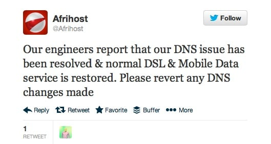 Afrihost DNS issues resolved tweet