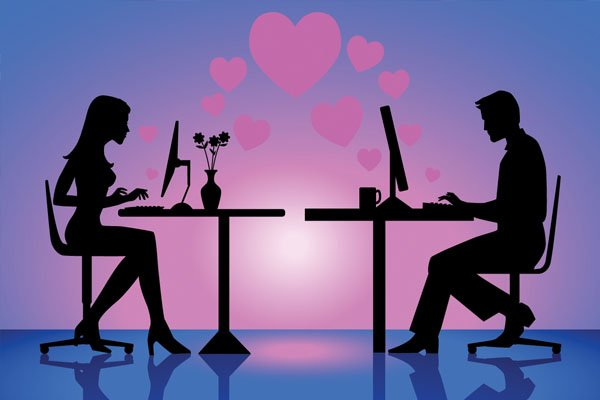 Online dating love couple
