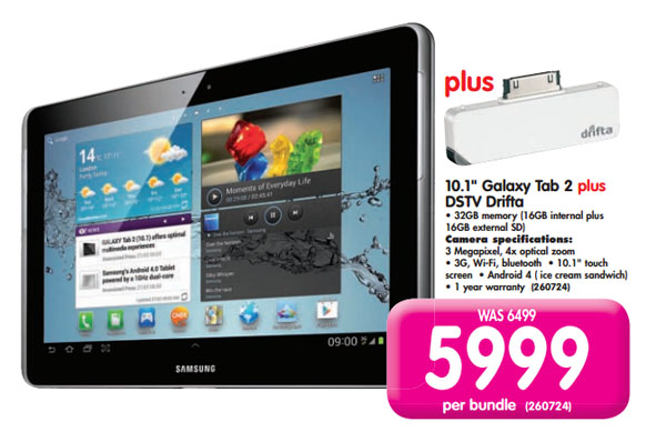 Samsung 10-1 Galaxy Tab 2 and DSTV Drifta bundle (Makro)