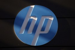 File photo of a Hewlett-Packard (HP) logo at the company's Executive Briefing Center in Palo Alto