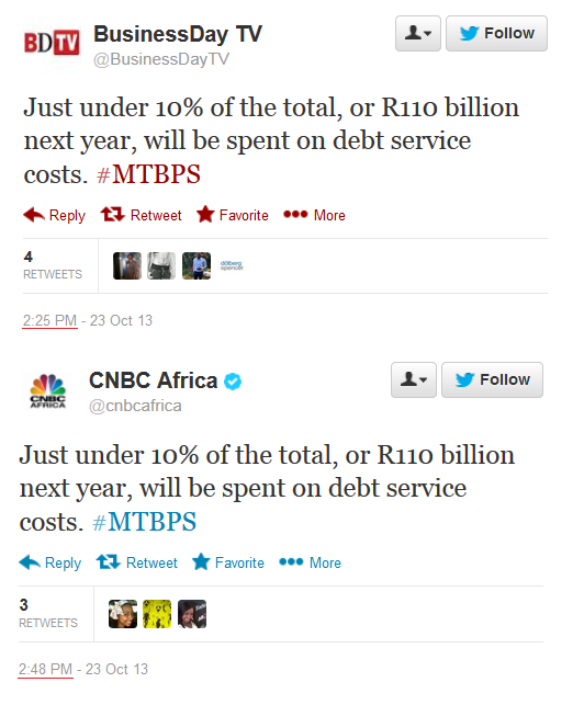 CNBC Africa copying Business Day TV Twitter comments