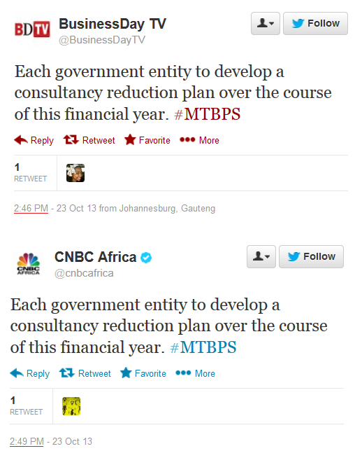 Business Day TV Twitter comments copied by CNBC Africa
