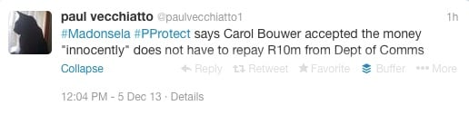 Carol Bouwer not implicated in ICT Indaba scandal - Paul Vecchiatto, Twitter