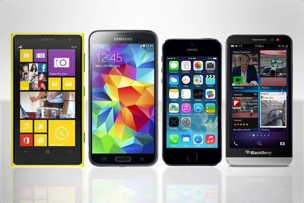Smartphones Samsung Galaxy S5, Nokia Lumia 1020, iPhone 5s, BlackBerry z30