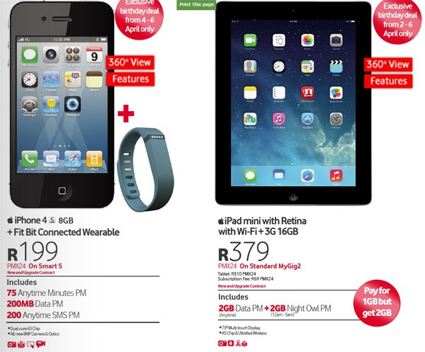 Vodacom no handset deals