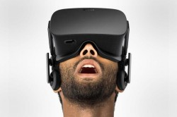 Oculus Rift on head