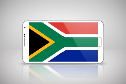 South Africa flag on phone