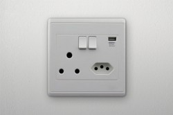Plug socket on wall