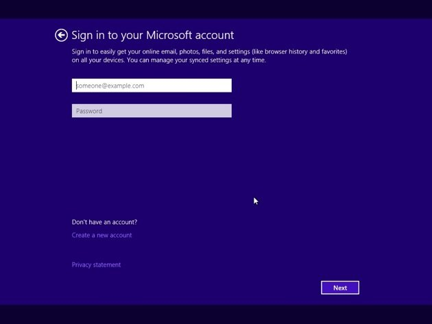 Windows 10 install - sign into Microsoft account