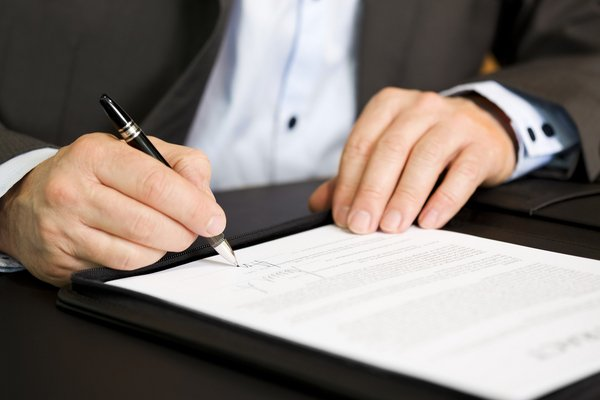 Signing contract agreement
