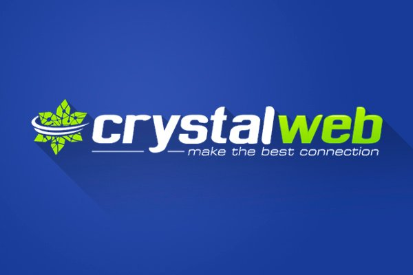 Crystalweb logo on blue