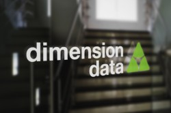 Dimension Data log on glass