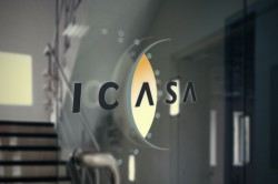 ICASA logo on glass