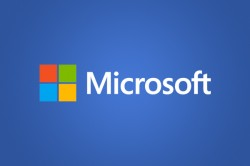Microsoft logo on blue