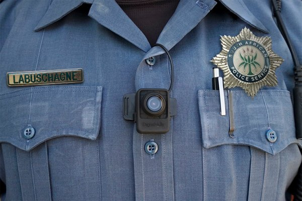 South African Police camera on uniform