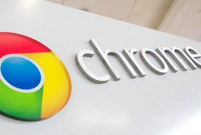 Google Chrome logo on wall