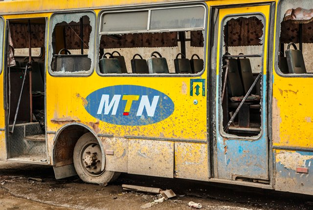 MTN logo on broken bus