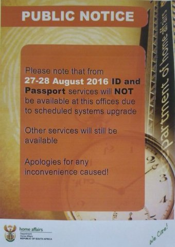 Home Affairs ID and passport service suspension notice