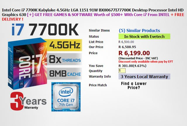 Evetech Intel Core i7-7700K
