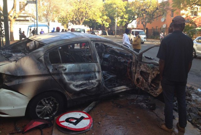 Watch – Metered taxi driver petrol bombed in Pretoria