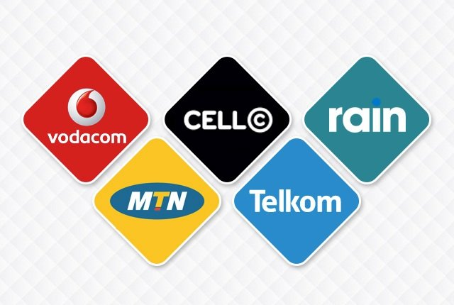 Mobile networks Vodacom MTN Cell C Telkom Rain white text