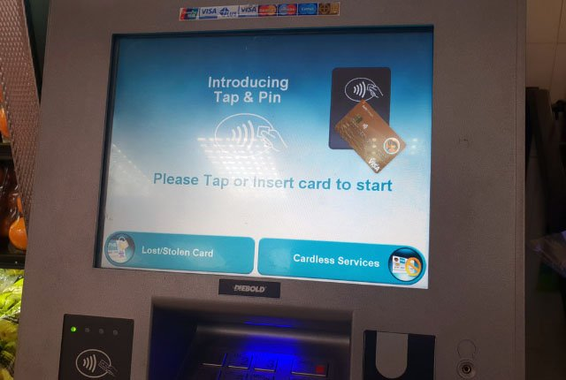 FNB Tap and Pin ATM screen