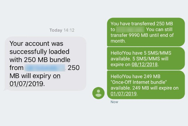telkom data transfer screenshots