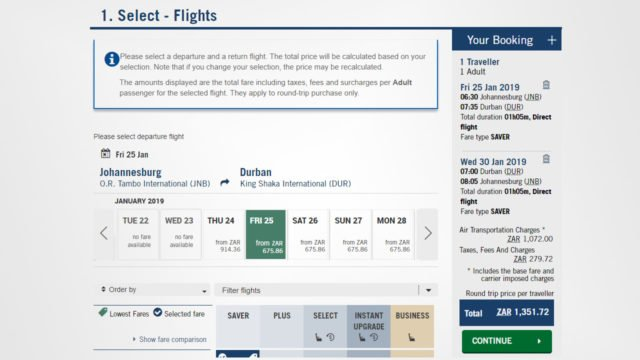 South African Airways screenshot