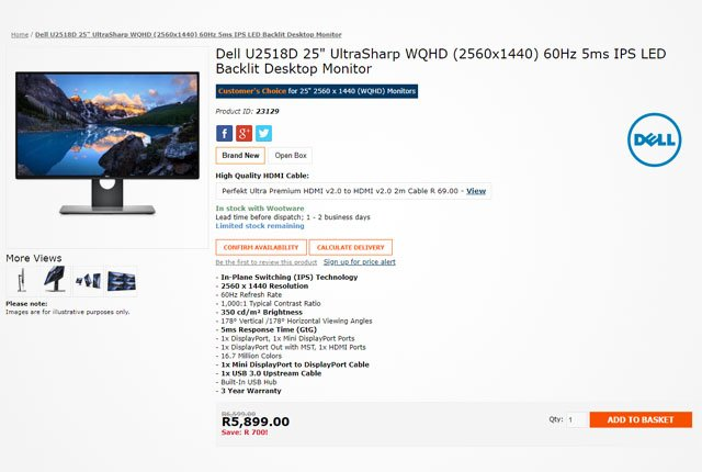 Dell WQHD Monitor from Wootware