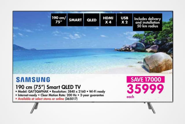 Samsung 75-inch QLED TV from Makro