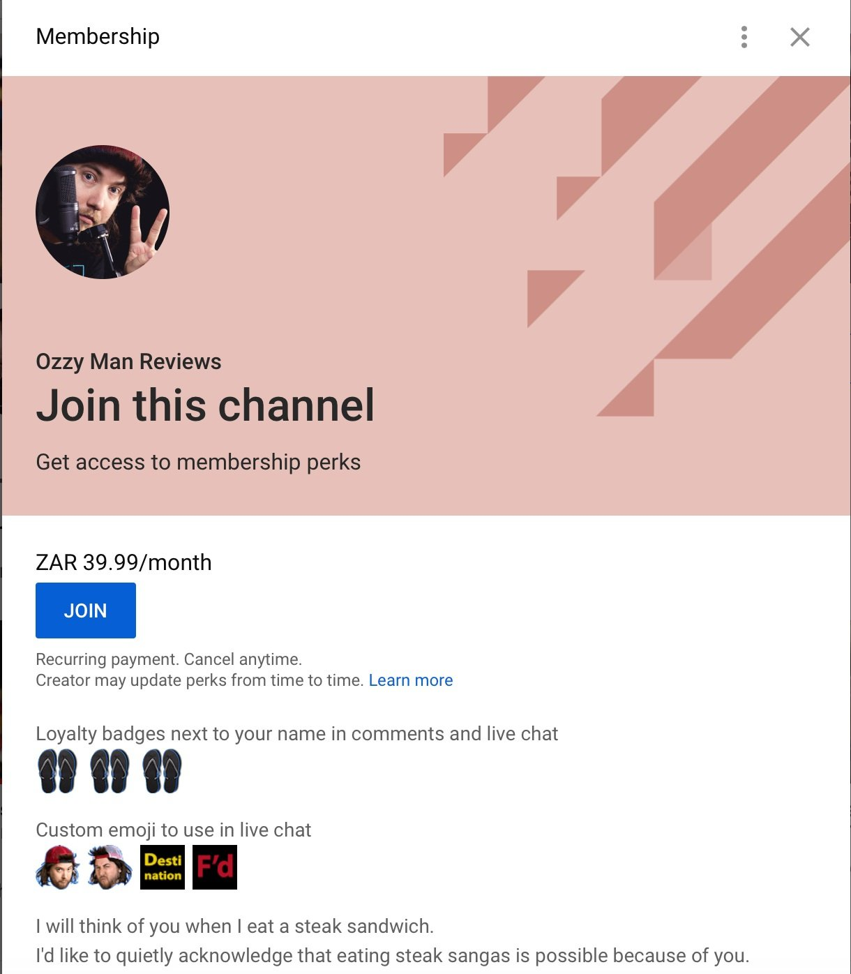 Join screen for YouTube channel membership in South Africa