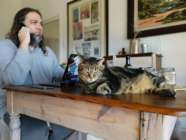 Jan Vermeulen, adopted by the farm cat, working before breakfast at Equleni