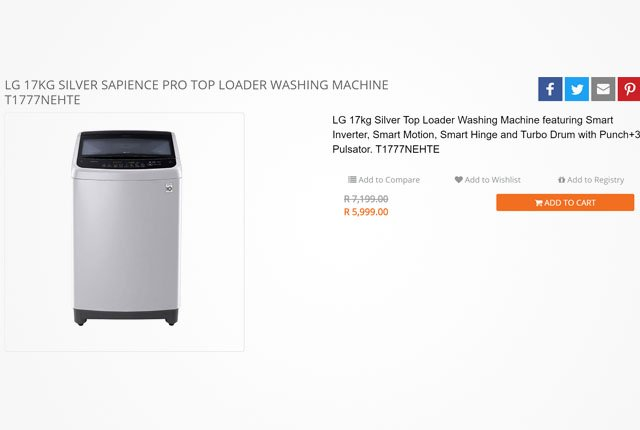 LG Silver Sapience washing machine from Kloppers