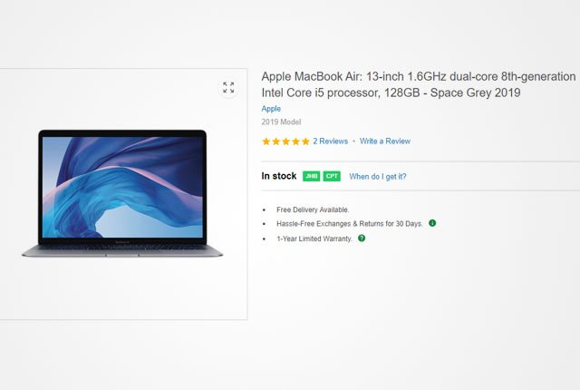 Apple MacBook Air 13-inch from Takealot