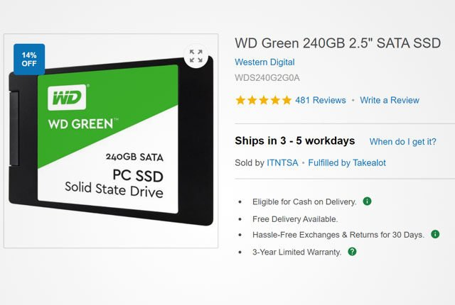 WD Green 240GB SSD from Takealot