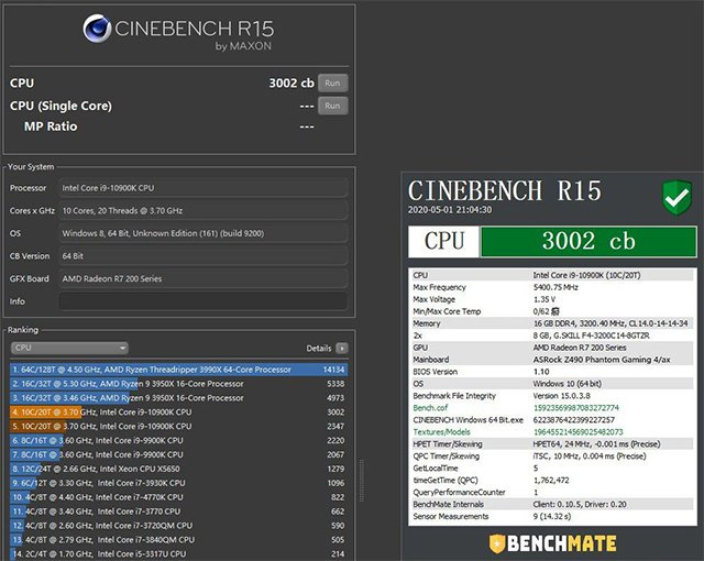 Intel i9-10900K Cinebench multi-core score_Video Cardz