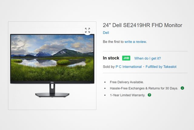 Dell 24-inch monitor from Takealot