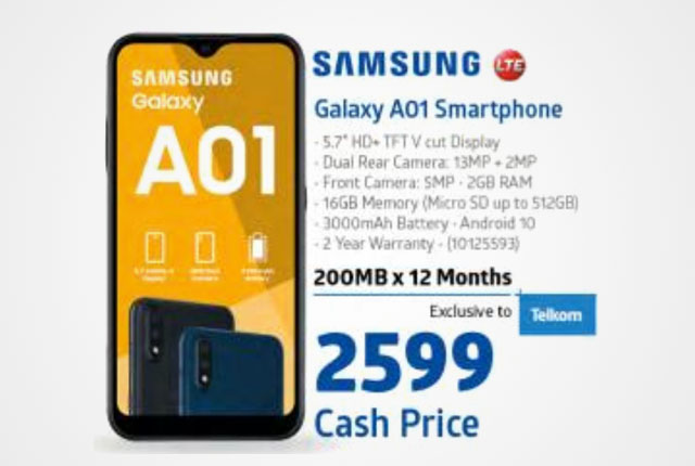Samsung Galaxy A01 smartphone from Incredible Connection