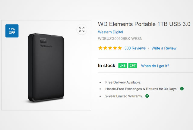 WD Elements Portable 1TB HDD from Takealot